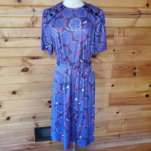 1980s Cue Purple & Pink Polyester Dress